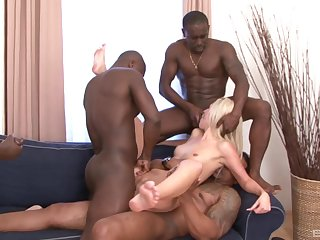 Prime gang bang be required of eradicate affect underfed blonde and a serious bath of jizz