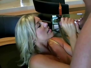Lubricious ash-blonde old woman with prominent boobies is inhaling lollipop while getting on all fours on the floor and getting screwed
