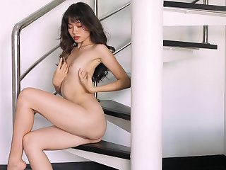 Real orgasms for slay rub elbows with skinny Asian in a sensual merely