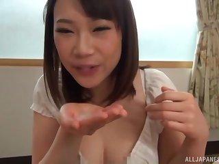 Desirable Japanese girlfriend Hoshino Hibiki gives a BJ in POV