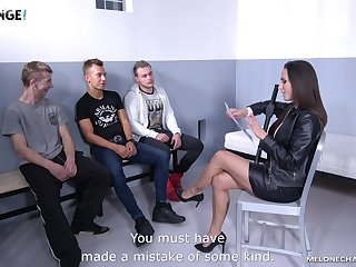 Sexy MILF police officer is about to onset a guy's penis space