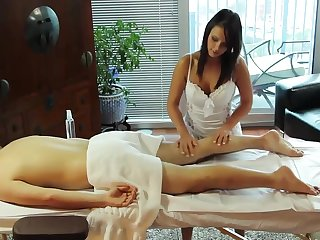 Horny Handjob on Massage-Table