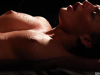 Vanessa Decker is sweating to the fullest extent a finally riding her lovers hard dick in the finished with the night